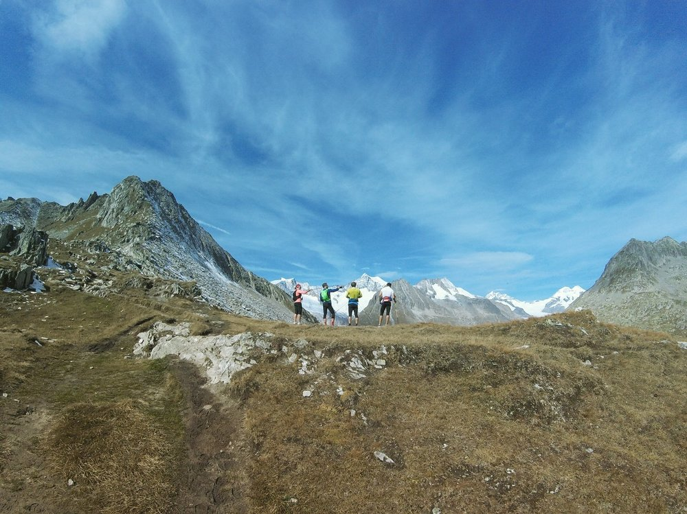 SAS ProTeam members overlooking the Aletsch Glacier.