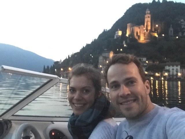 A mozzarella-cheese-ball to end the post. Couple Selfie! Cruising Lago di Lugano in front of Morcote in Italy.