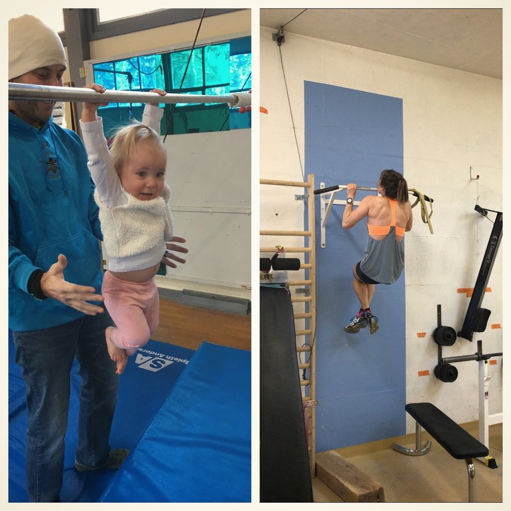 My curious monkey niece, Evia, taking part in our international pull up competition. I lost with a score of zero against her 100 adorable points.