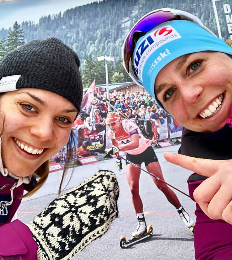 Tatjana Stiffler and I cheering via a poster for Denise Herrmann - super star xc skier turned golden girl biathlete!