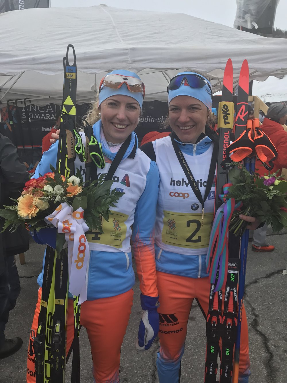 Maria Gräfnings and Rahel Imoberdorf. My two training partners and good friends after placing 2nd and 4th in the Engadiner. Without these two ladies, I wouldn't have enjoyed this year and season with the SAS ProTeam as much as I did!