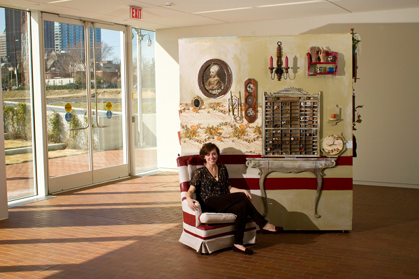 Yours truly sitting in House of Collections, site specific mixed media installation, 2012, dimensions variable. Photography by  Adam Anderson