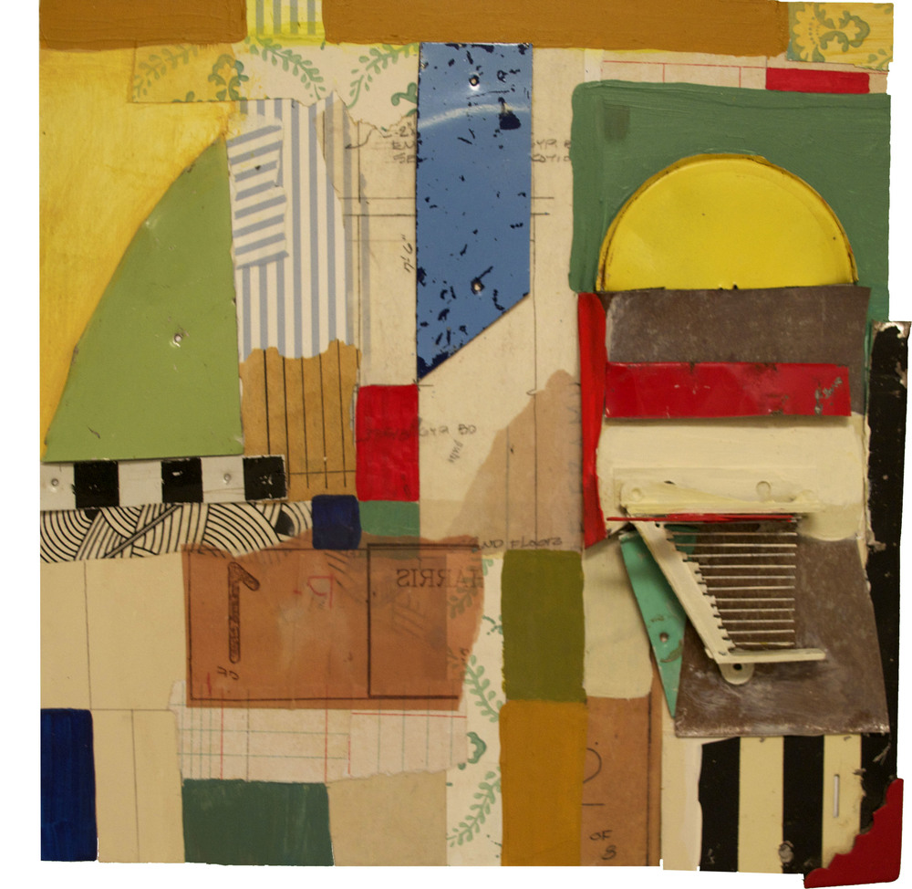 Tin Dwellings, collage, acrylic, vinyl and tin on panel, 2014
