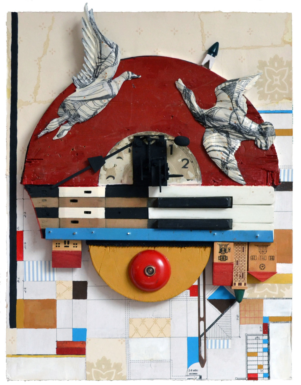 "The time the world was upside down,  acrylic, vinyl, collage, gel transfers of drawings, found objects and tin on panel, 18"" H x 14"" W x 1 1/4"" D, 2014"