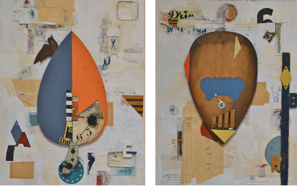 "The musician's repertoire, acrylic, vinyl, collage and found objects on panel, diptych, 18"" H x 48"" W x 1 3/4"" D, 2014"