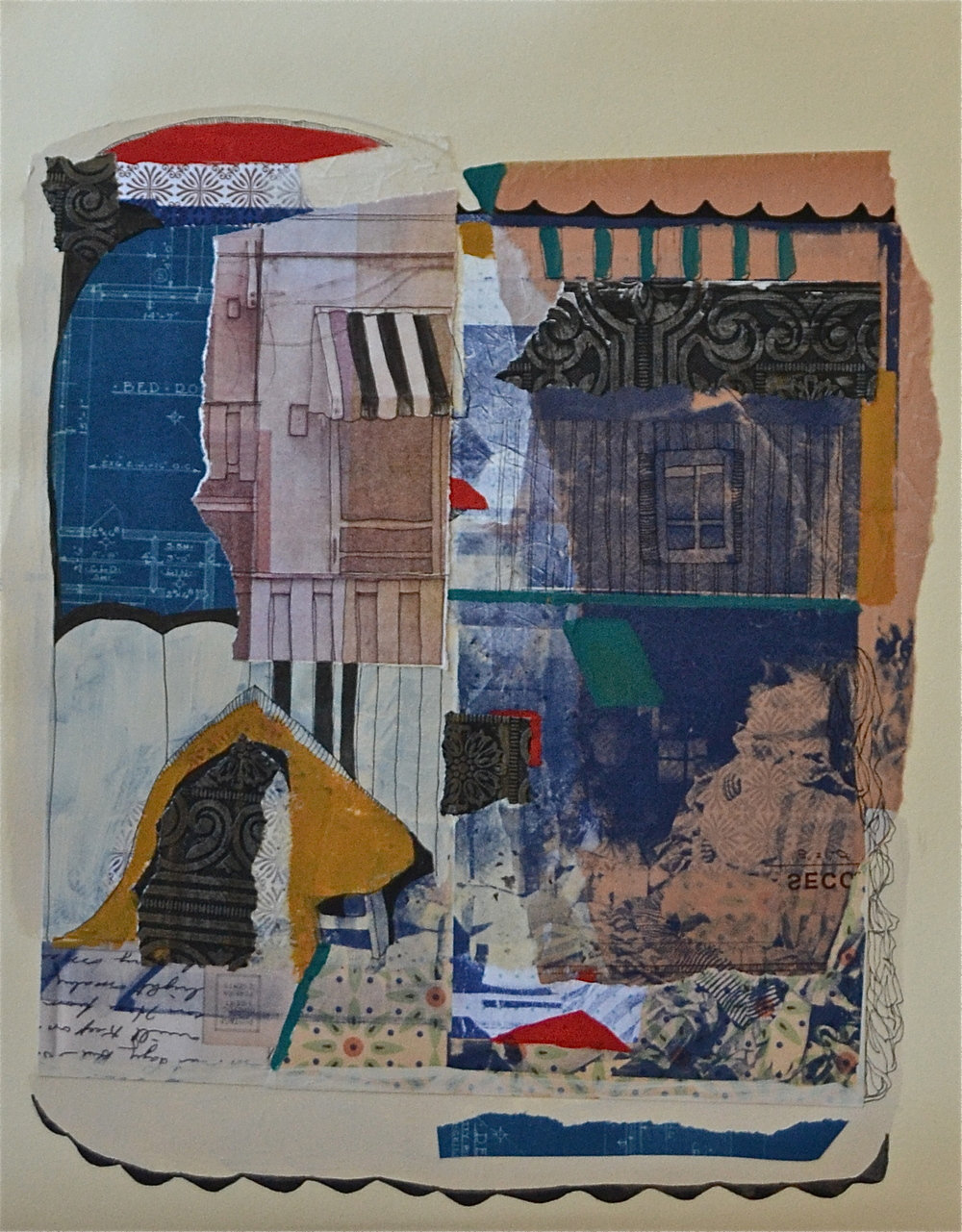 "Miniature walls for miniature dolls,  acrylic, collage, serigraphy and chine-coll é  on paper, 20"" H x 16"" W, 2012"
