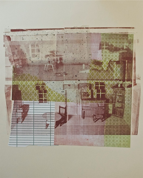"Peter the puppet at 6 PM,  serigraphy and chine-coll é  on paper, 20"" H x 16"" W, 2012"