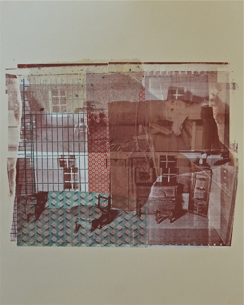 "Peter the puppet at 7 PM,  serigraphy and chine-coll é  on paper, 20"" H x 16"" W, 2012"