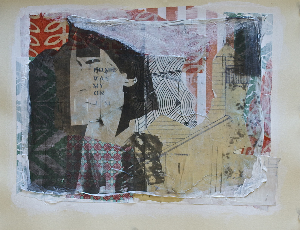"Homesick,  acrylic, collage and gel transfer on paper, 11"" H x 14"" W, 2013"