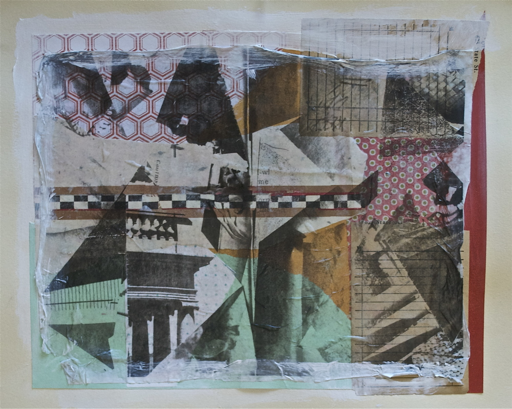 "Unexpected memories,  acrylic, collage and  gel transfer on paper, 11"" H x 14"" W, 2013"