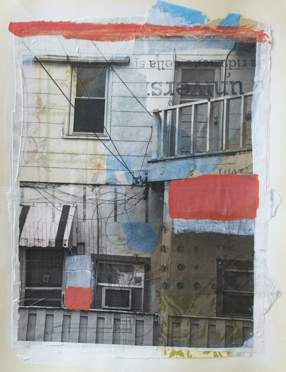 "Living in small places in small cities,  acrylic, collage and gel transfer on paper, 14"" H x 11"" W, 2013"