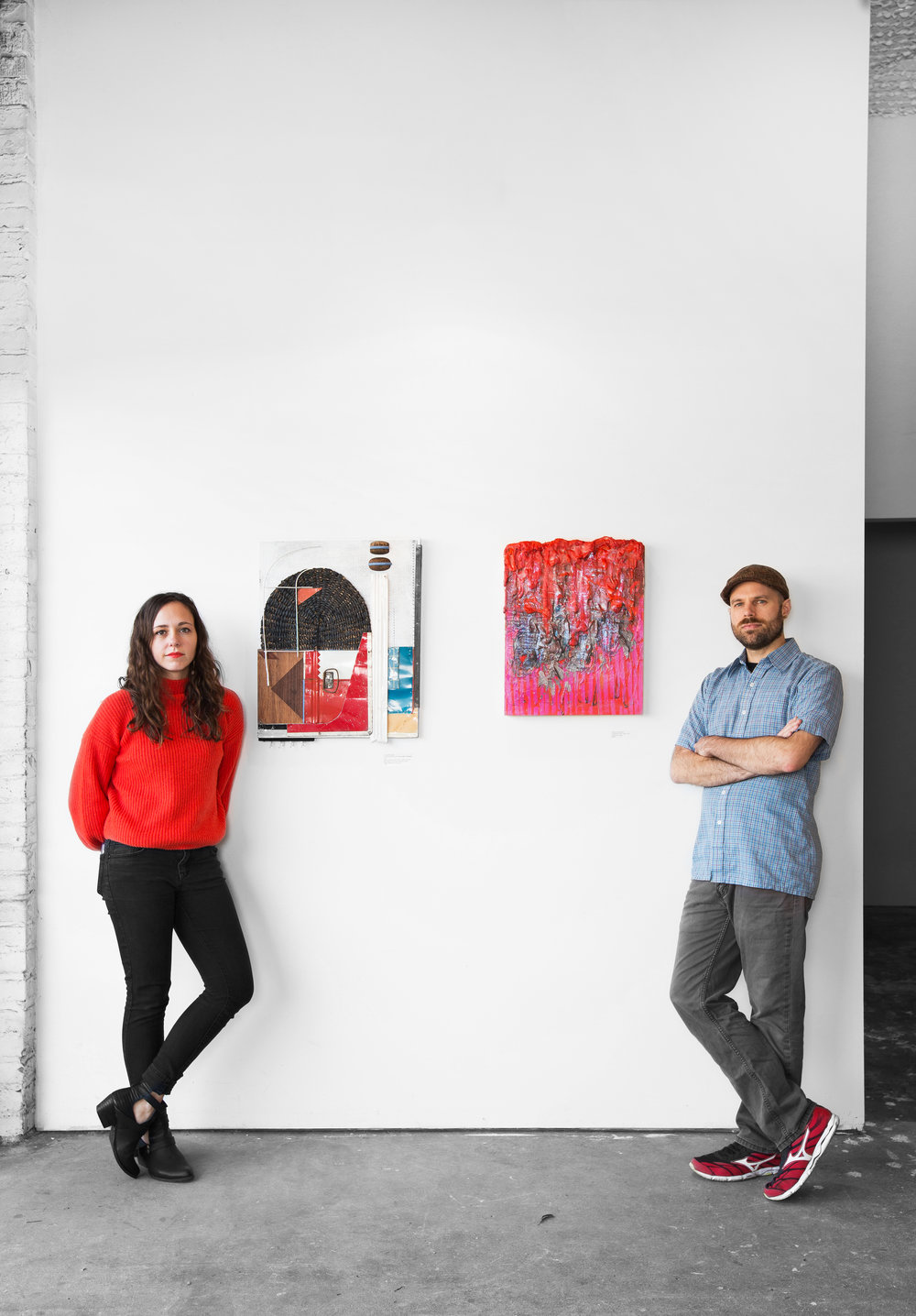 Photo of yours truly and Joshua Thompson next to our work by Rafael Soldi