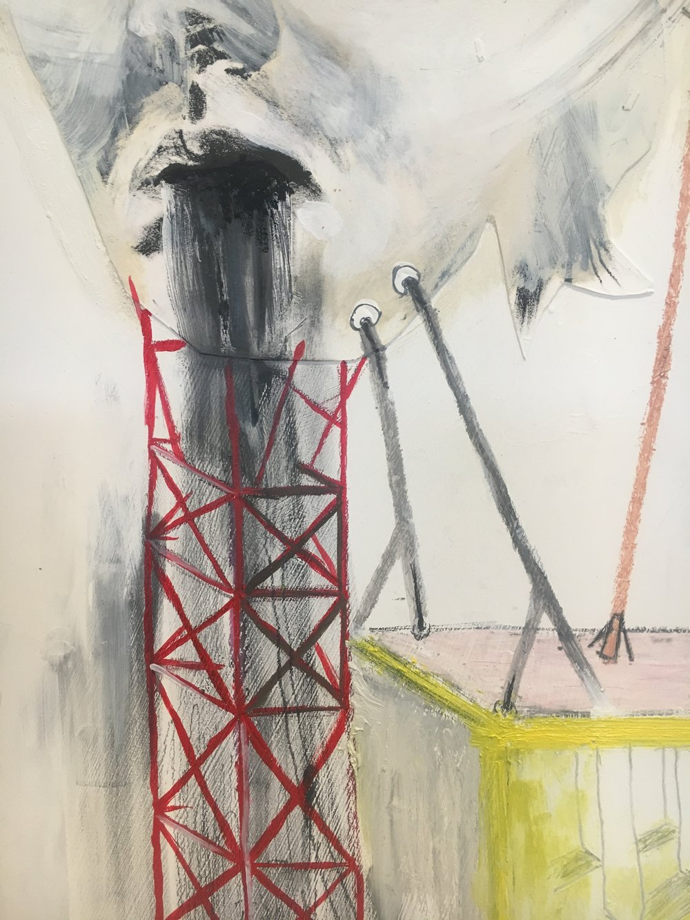 Lydia Goldbeck   Detail of  Untitled,  2018  Lithograph, Oil Stick, Graphite Powder, Pencil, Acrylic, Oil, Charcoal, Colored Pencil, Oil Pastel on Panel