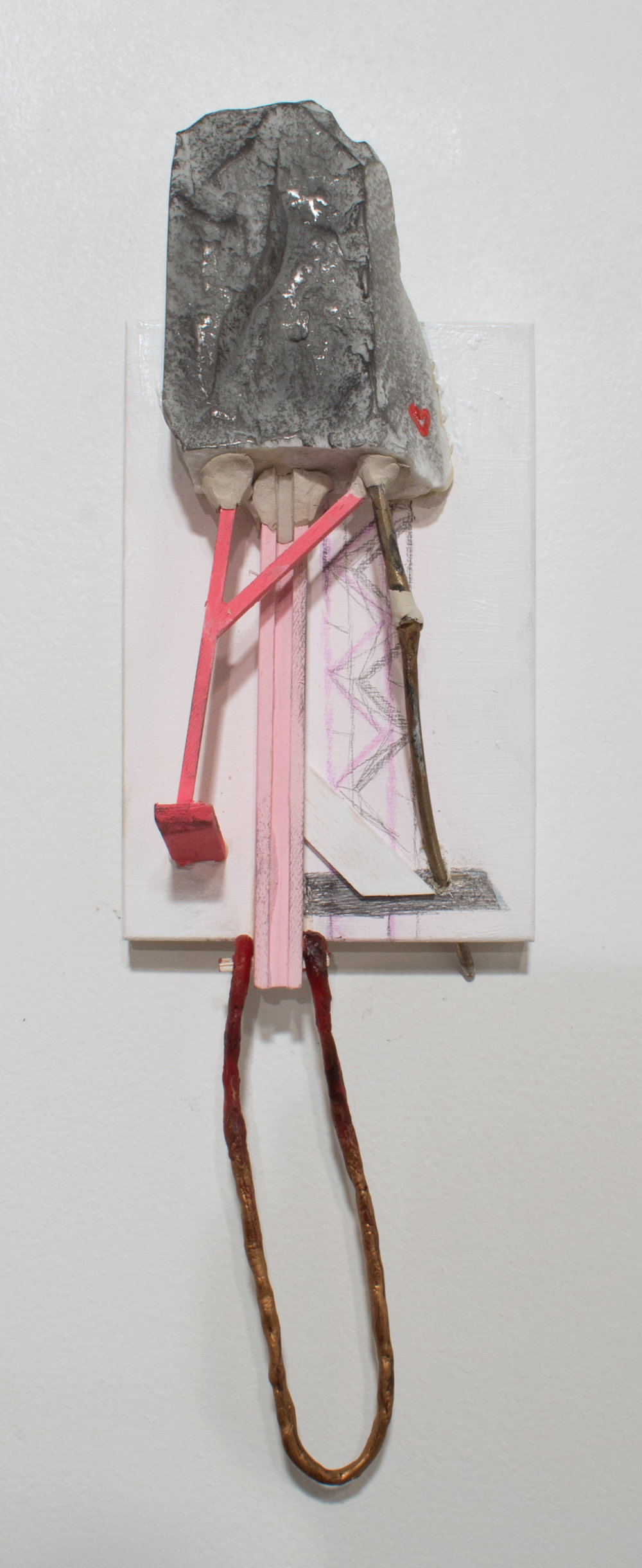 Lydia Goldbeck    Untitled,  2018  Marble, Wax, Balsa Wood, Acrylic, Graphite Powder, Pencil on Panel