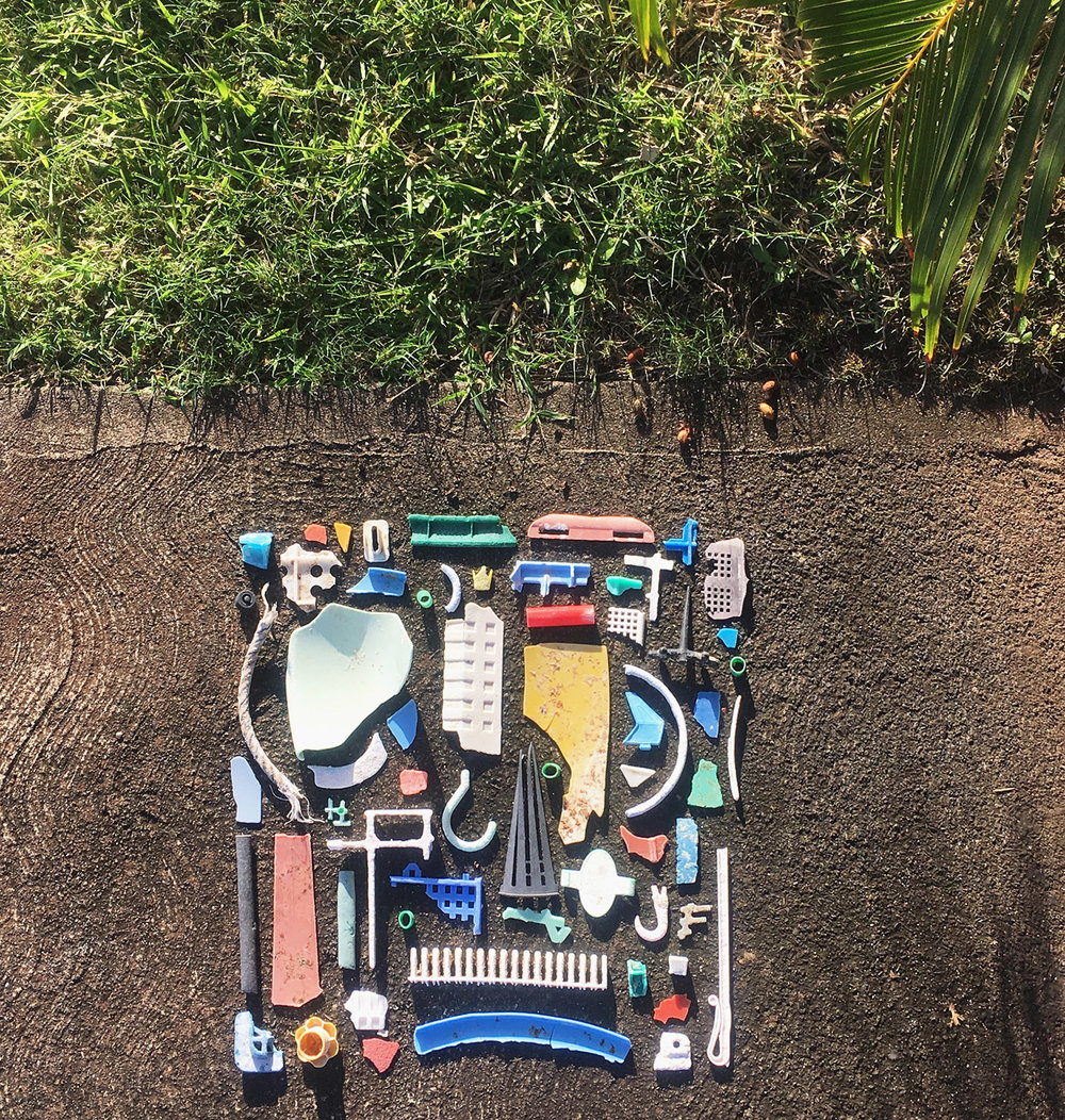 Beach Collection,  2018  | Arranged found objects (mostly plastic) found on O'ahu's North Shore beaches in Hawaii.