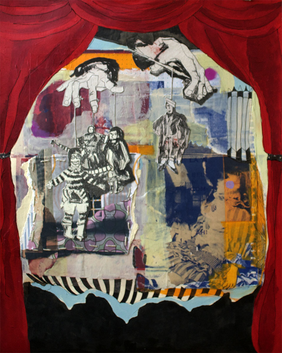 """The Kinder Kids,  2013, Serigraphy, Chine Collé, Collage, Acrylic, Lithography on Paper, 20"""" x 16"""" inches"""