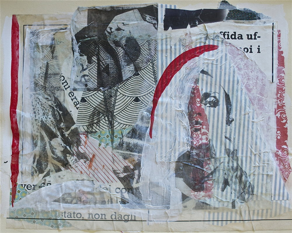 "Alone,  2013, Collage, Acrylic, Gel Transfer on Paper, 11"" x 14"" Inches"