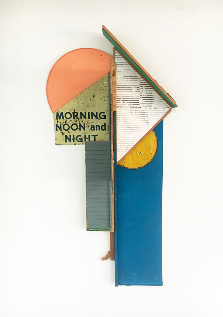 """Morning, Noon & Night,  2017-18, Acrylic, Flashe Vinyl, Tin, Collage, Serigraphy, Nails, Spray Paint on Shaped Panel, 28 ½"""" H x 16"""" W x 7"""" D"""