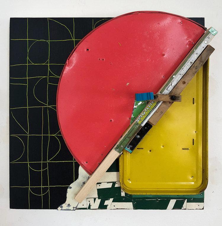 "Ripe,  2018, Acrylic, Flashe Vinyl, Wood, Tin, Nails on Panel, 12 1/4"" H x 12 1/2"" W x 5 1/2"" D"