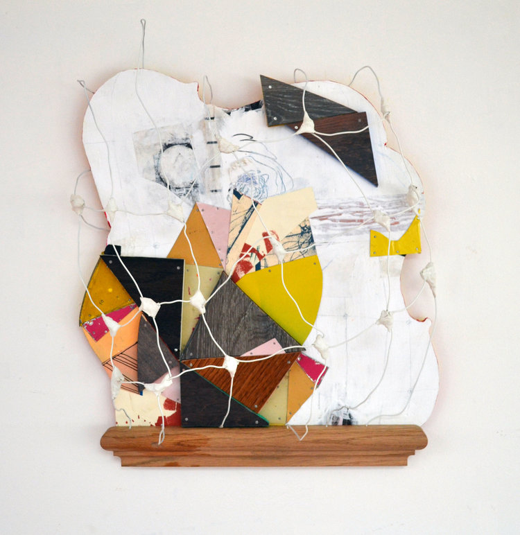 """The Sounds of Floor Creaks and Sunken Pillow Whispers,  2018, Tin, Collage, Serigraphy, Wire, Clay, Copper Tooling, Wood, Flashe Vinyl, Acrylic, Nails, Colored Pencil and Ink on Shaped Panel,  16"""" H x 20"""" W x 6"""" D"""