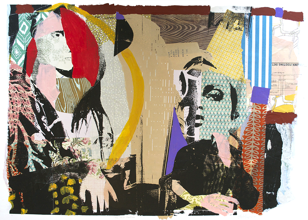 """Two Ladies,  2013, Serigraphy, Collage, Acrylic on Paper, 30"""" x 44"""" inches"""