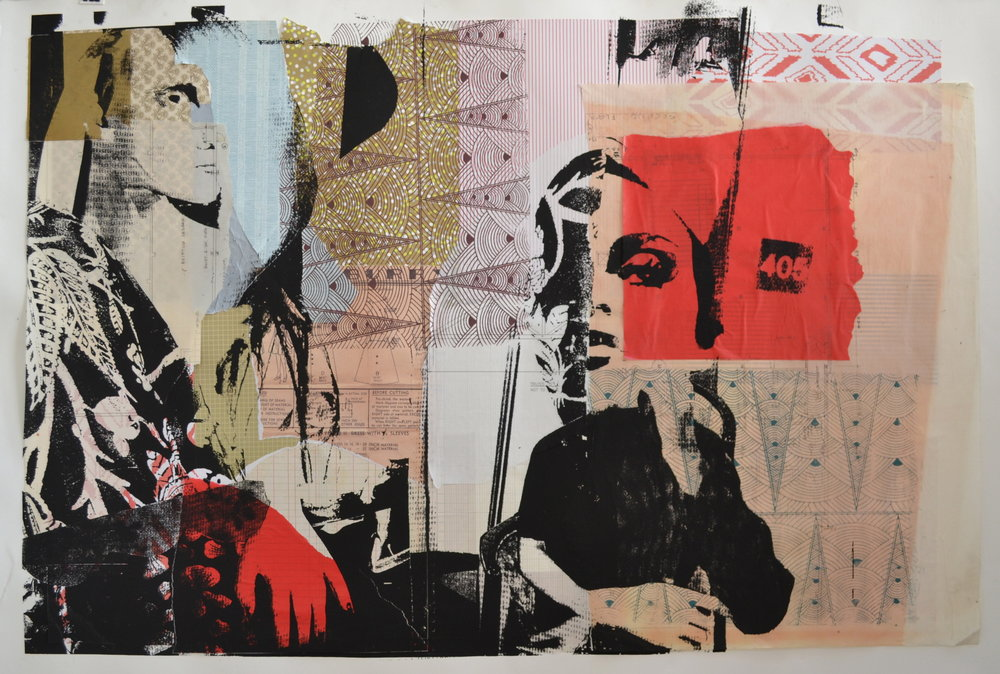 """Best Friends,  2013, Serigraphy, Collage, Acrylic on Paper, 30"""" x 44"""" Inches"""