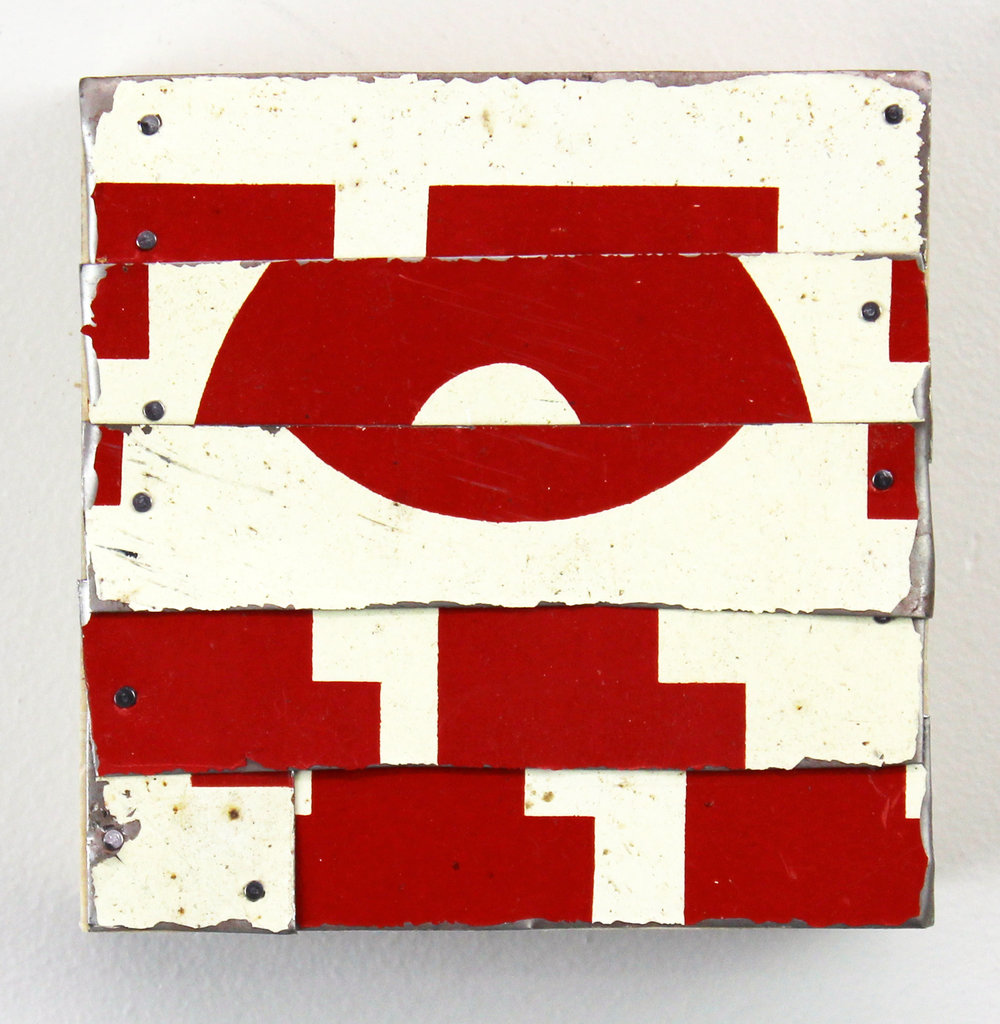 """Red Rover,  2016, Tin & Nails on Panel, 4"""" x 4"""" inches"""
