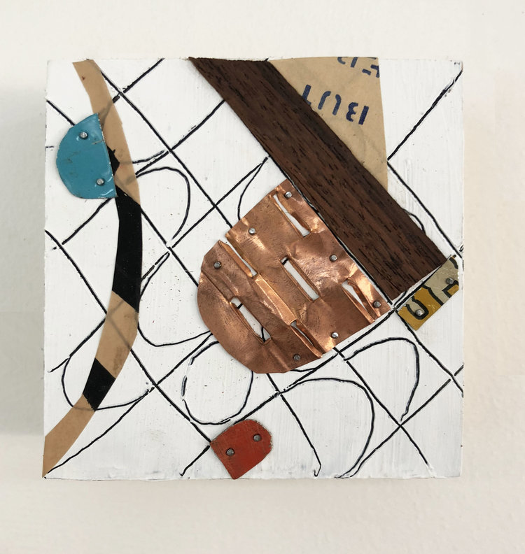 """Telling & Being Told,  2018, Acrylic, Wood, Tin, Nails, Copper, Serigraphy, Paper on Panel, 4"""" x 4"""" inches"""