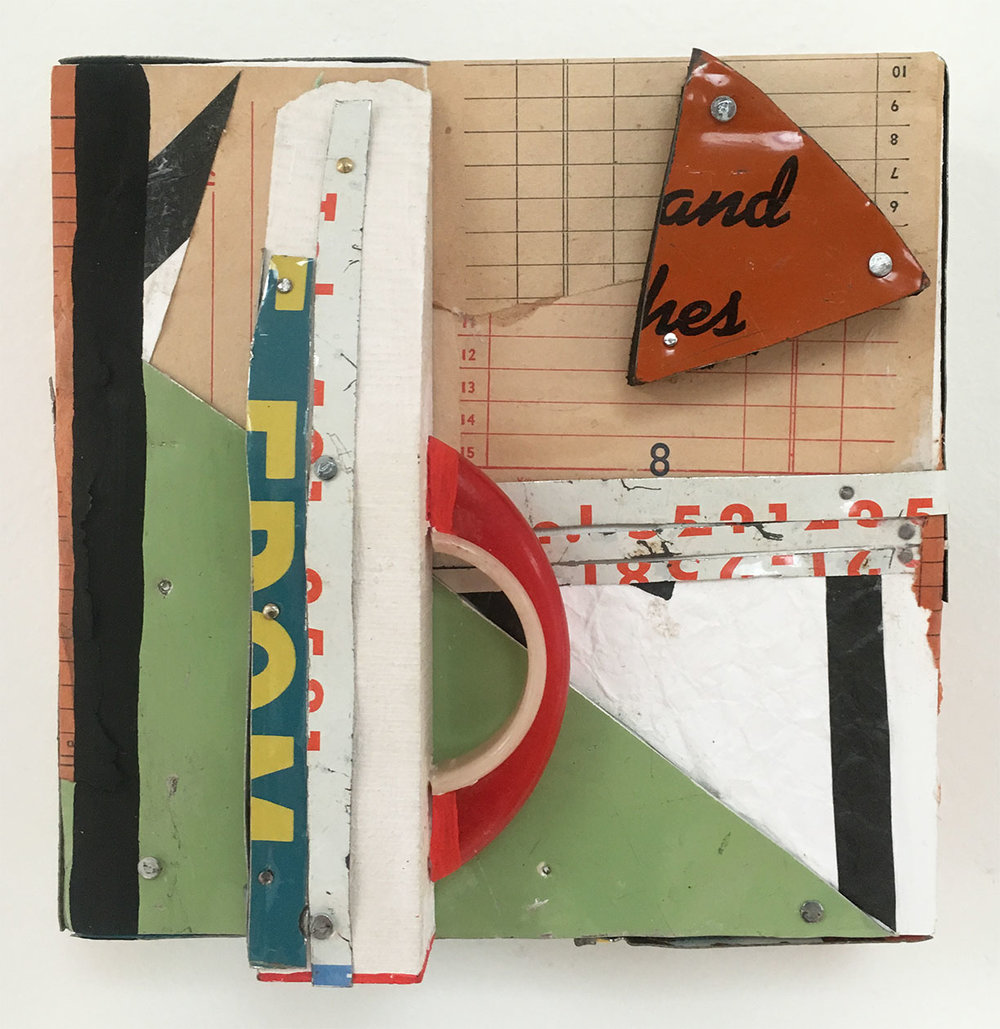 """The Old Diner with the New Chicken Recipe, 2016, Collage, Tin, Nails, Wood, Plastic Handle on Panel, 6"""" x 6"""" inches"""