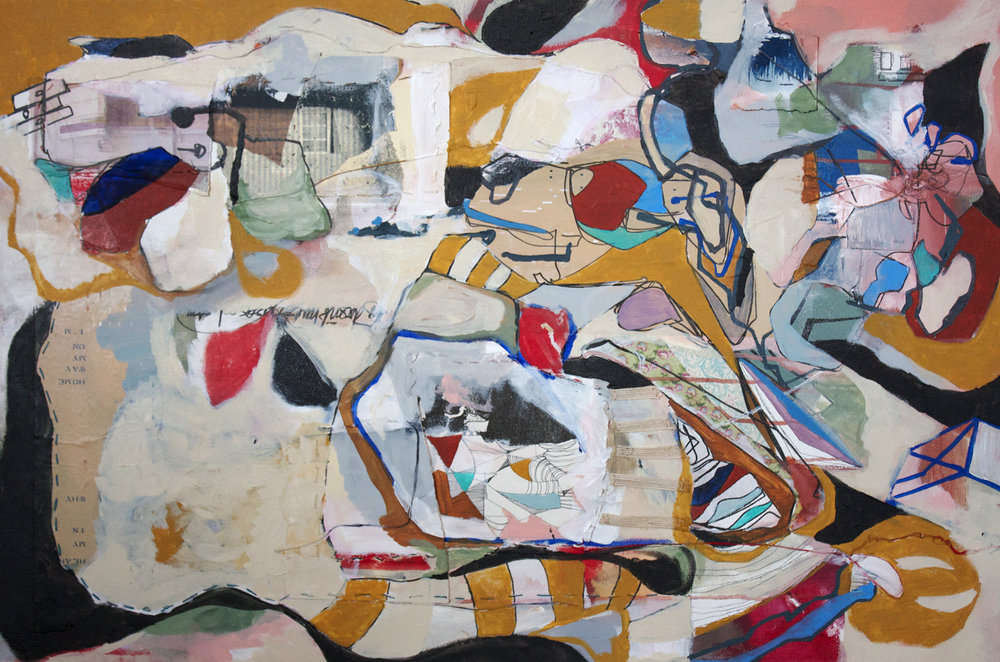 """The places I want to know do not have to be sad stories ,  2014, Mixed media on canvas, 24"""" x 36"""" inches"""