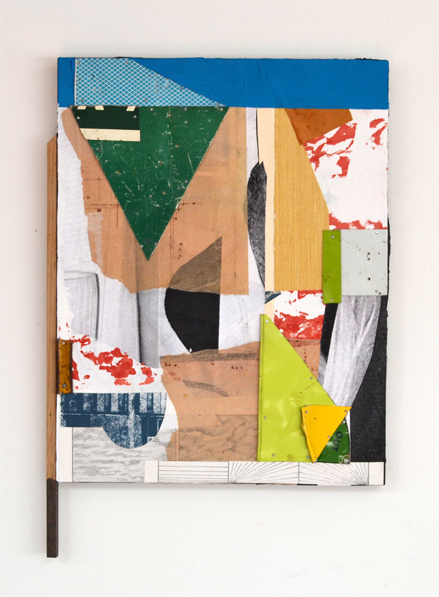 Out of Bounds,  2017, Flashe Vinyl, Collage, Ink, Tin, Found Wood on Panel