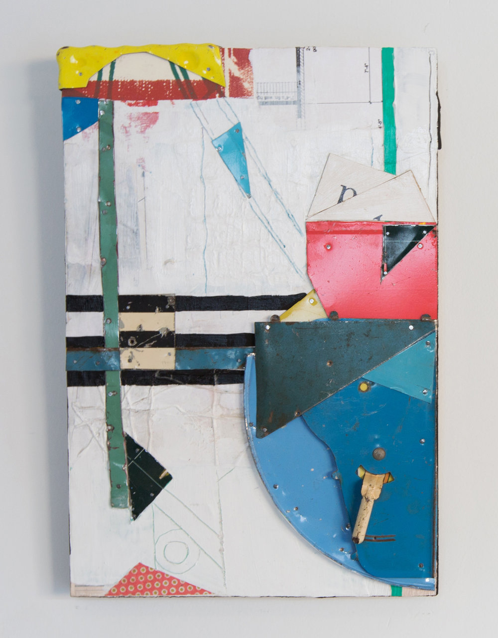 """Navigating in Forgotten Footsteps,  2017, Acrylic, Flashe Vinyl, Collage, Tin on Panel, 15"""" H x 10"""" W"""