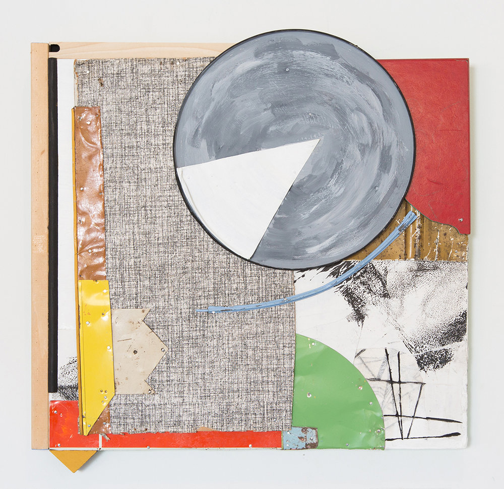 """Stratocumulus Clouds Forming Overhead,  2017, Acrylic, Flashe Vinyl, Found Wood, Collage, Ink, Tin on Panel, 19"""" H x 18 1/2"""" W x 1 1/4"""" D"""