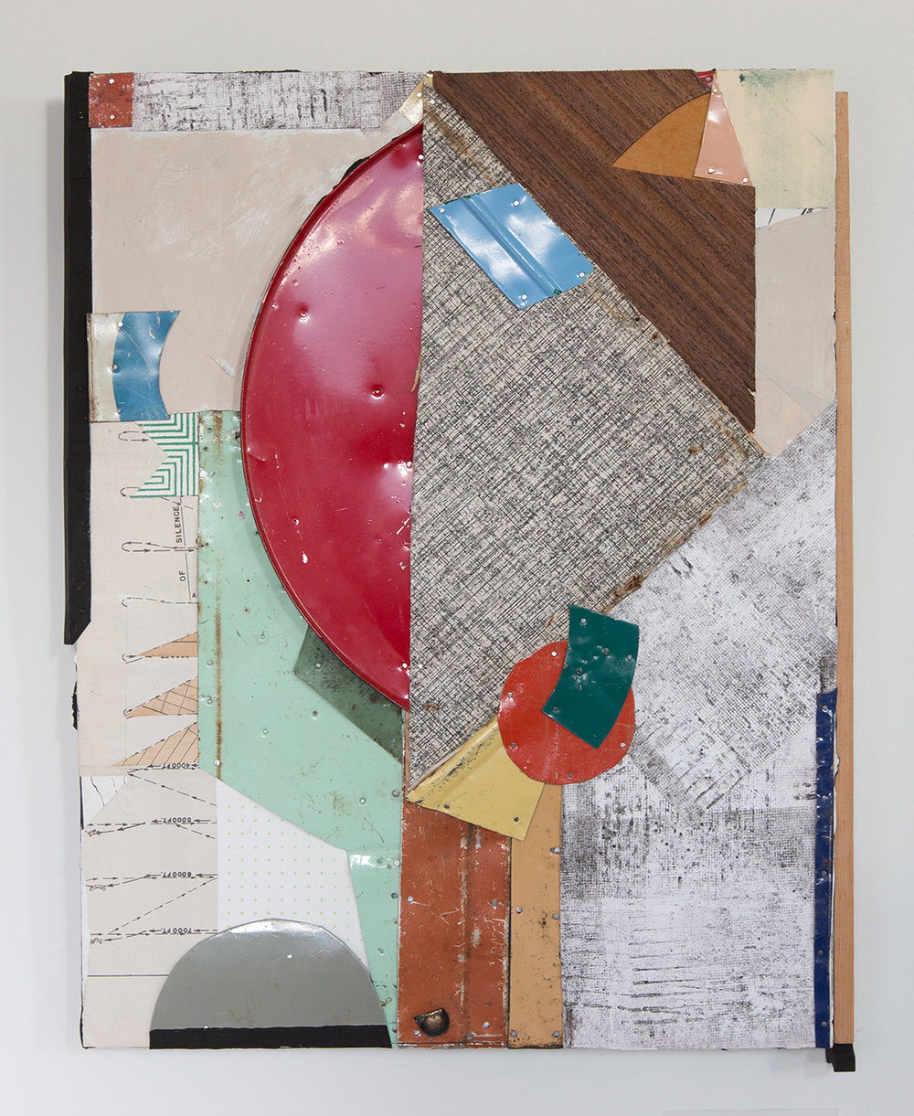 """Static White Noise,  2017, Acrylic, Flashe Vinyl, Collage, Ink, Found Wood, Tin on Panel, 18 1/2"""" H x 14 3/4' W x 1 3/4"""" D"""