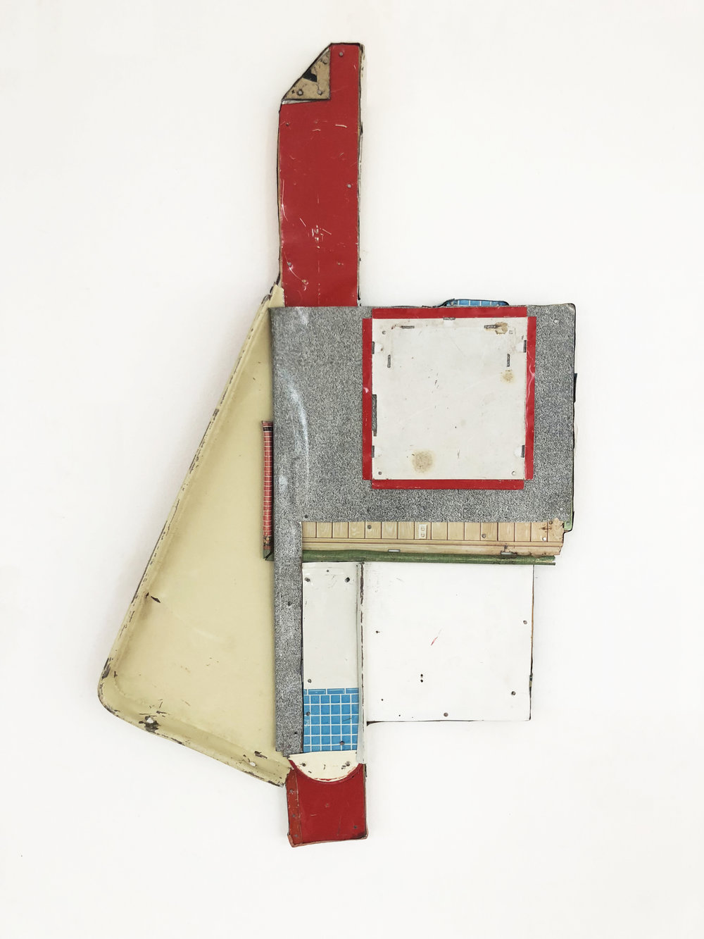 """The Important Non Places,  2017-18, Tin, Nails on Shaped Panel, 21"""" H x 13"""" W x 1"""" D"""