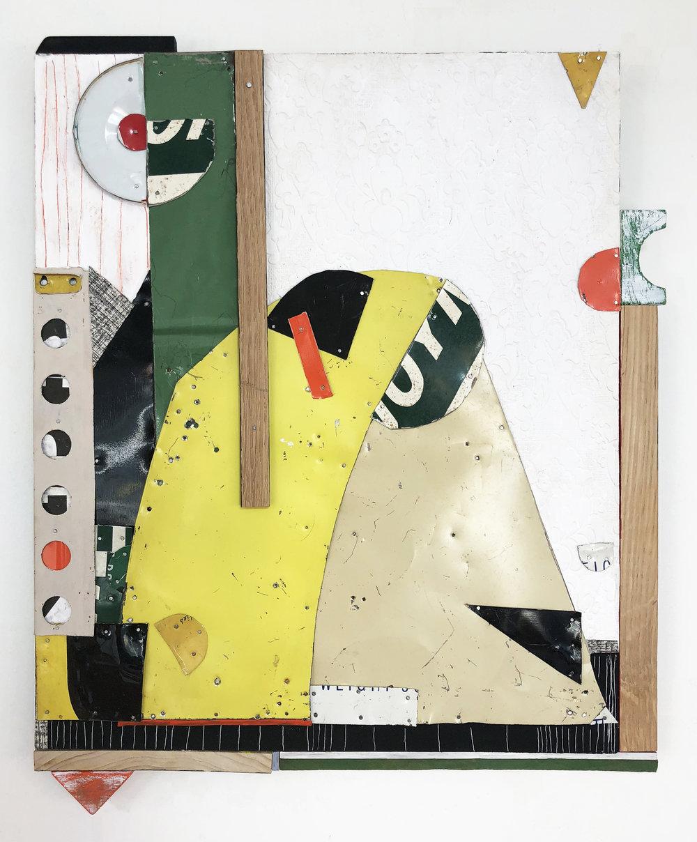 Running Uphill,  2018, Acrylic, Flashe Vinyl, Tin, Nails, Wallpaper, Wood, Collage on Panel