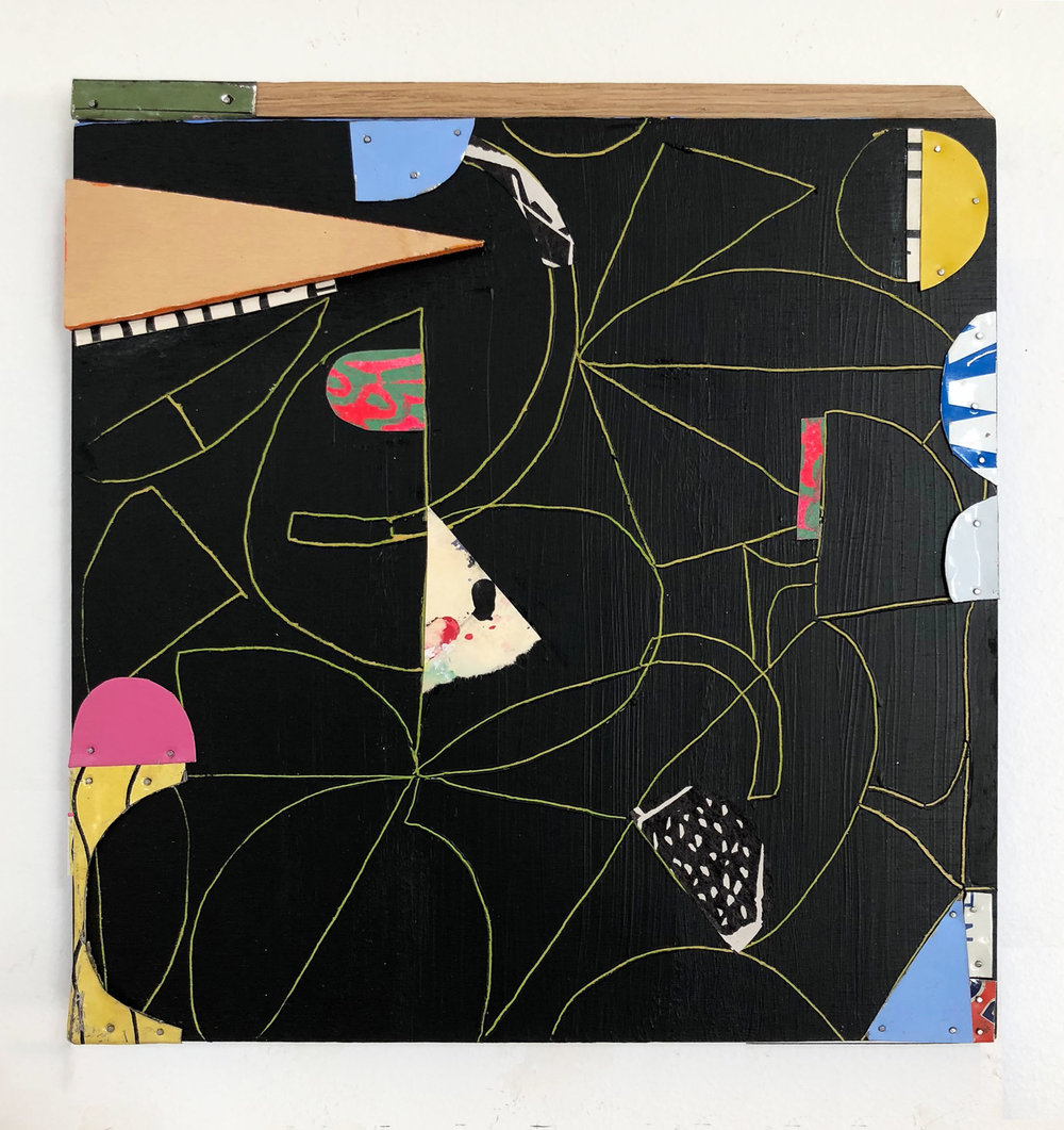 "Tight Corners,  2018, Collage, Acrylic, Flashe Vinyl, Tin, Nails, Wood on Panel, 10 1/2"" H x 10"" W"
