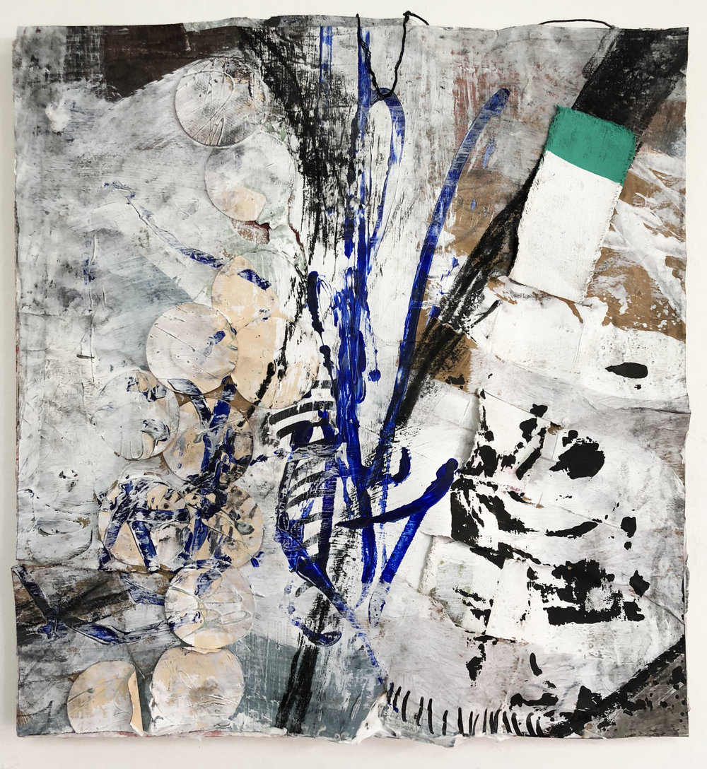 Found Marks Dipped in Blue,  2016-18, Collage, charcoal, acrylic, oil, ink, enamel, canvas on panel