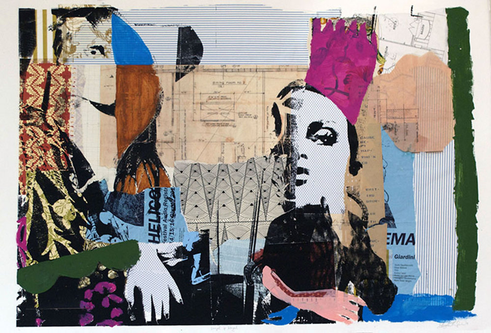 """Loyal & Royal,  2013, Serigraphy, Collage, Acrylic on Paper, 30"""" x 44"""" Inches"""