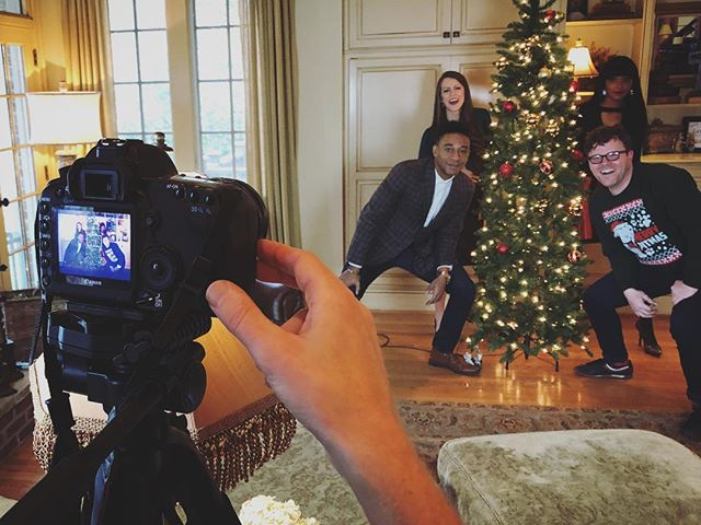 "We had a blast this weekend shooting not one... not two... not three... But FOUR MUSIC VIDEOS. 🎥🎤💪🏽 Kicking it off soon with our annual Christmas parody... A #90sjam we're calling ""Mistletoe"" — any guesses on what the original song is? ••• #acappella #slowjam #acappellachristmas #newmusic #90sthrowback #90sparty"