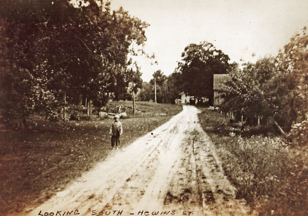 EARLY PHOTOGRAPH FROM THE PROPERTY LOOKING SOUTH ON HEWINS STREET