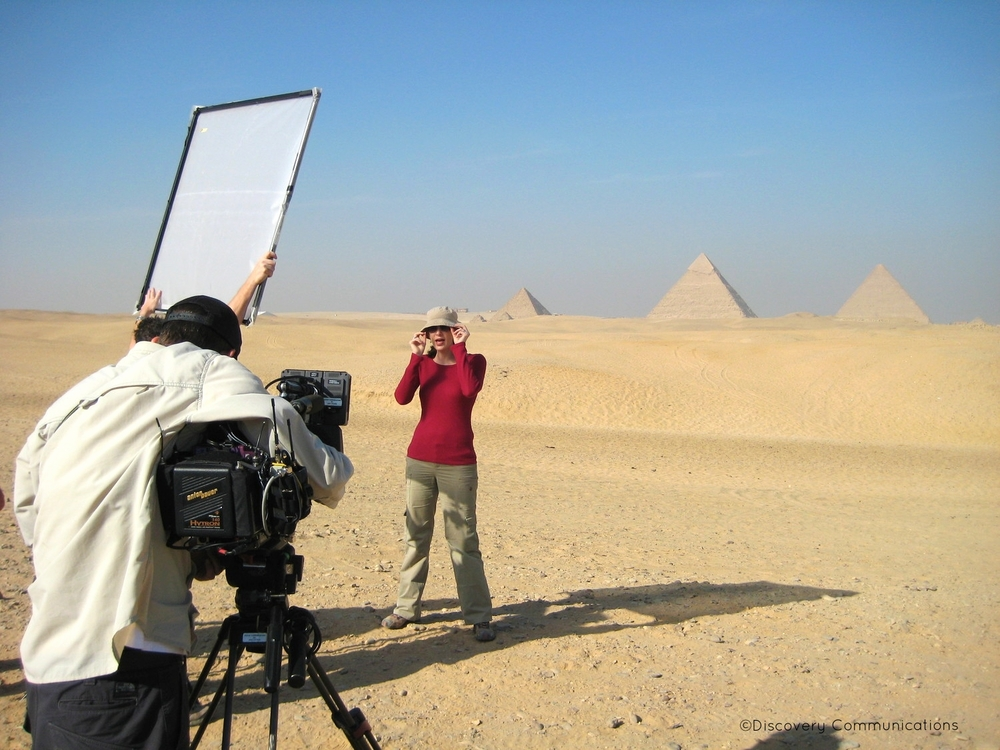 "Shooting ""Out of Egypt"" with a spectacular backdrop of the pyramids."