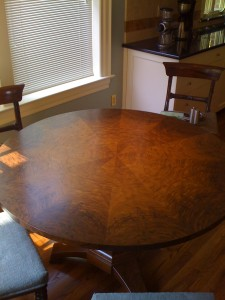 Walnut table in client home