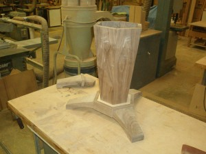 Walnut table base and pedestal