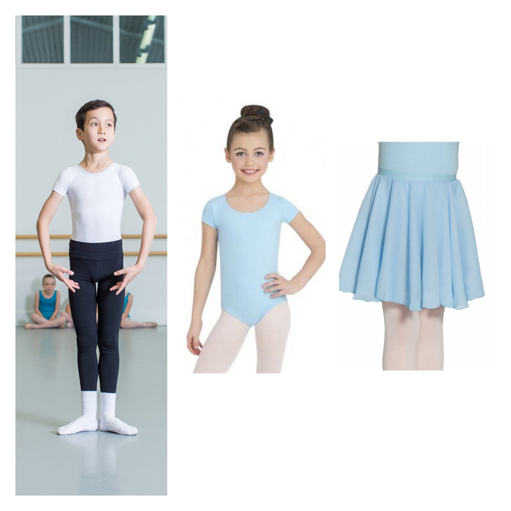 1ad9fb10a7cdf Boys - White t-shirt or t-shirt sleeve leotard, black leggings or fitted  trousers, white ballet shoes and white socks.