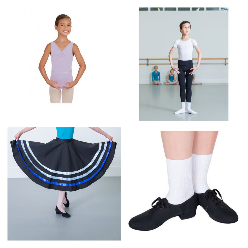 73778d7549aae Boys - White t-shirt or t-shirt sleeve leotard, black leggings or fitted  trousers, white ballet shoes, white socks, and black lace up character  shoes.