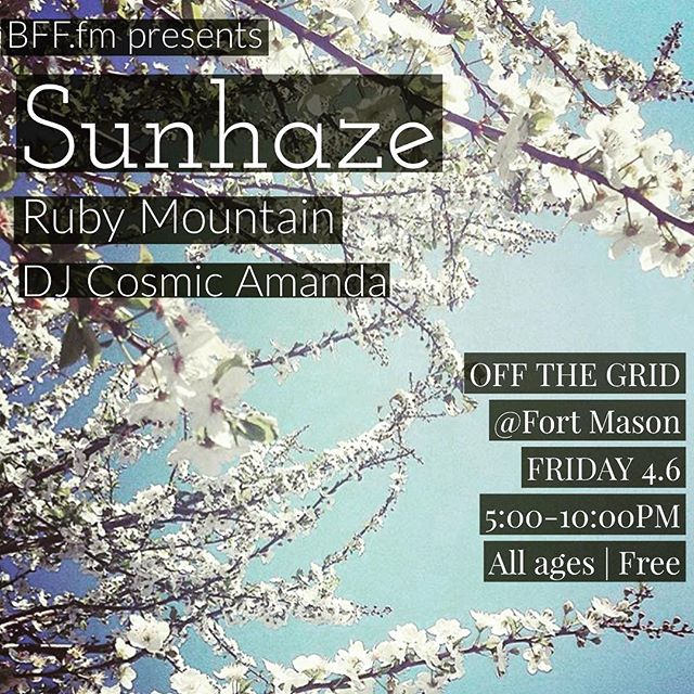 🎶✨SHOW ANNOUNCEMENT✨🎶 we've been hibernating and writing for a long time, and we're ready to play! Join us and @ruby.mountain at @offthegridsf for some of that new new. (Mad love to @bffdotfm 🌸🖤) #sfmusic #localmusic #localart