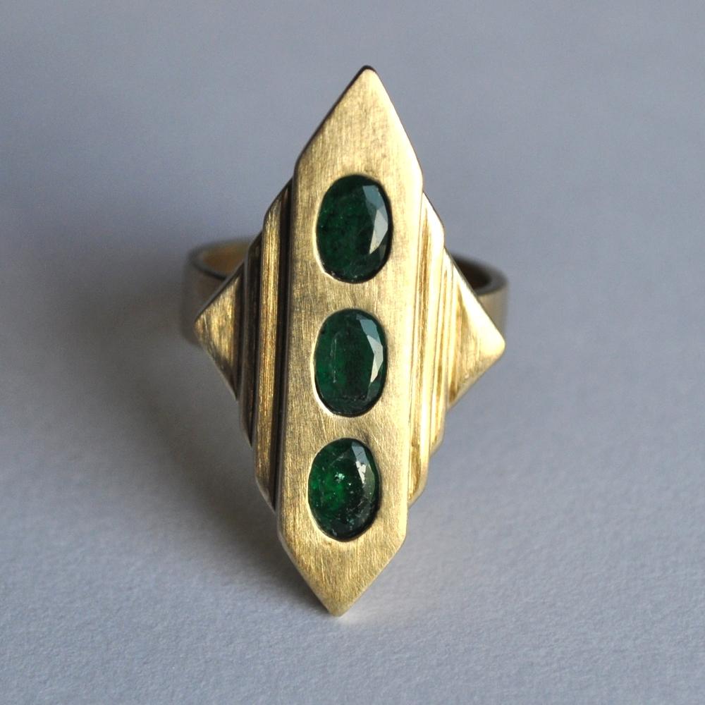 Cast brass, heirloom emeralds - 2014