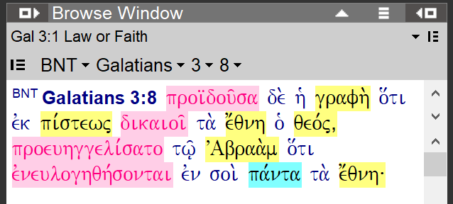 Galatians 3:8 with morphology colors
