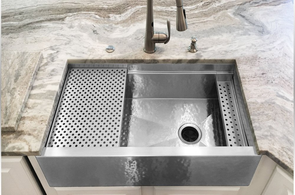 Hammered metal farm sink by Havens